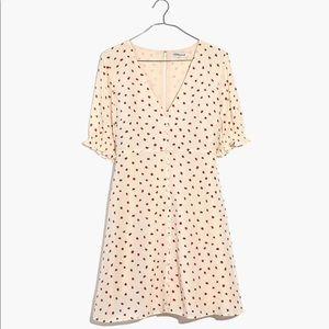 Silk Clover Button-Front strawberry Dress